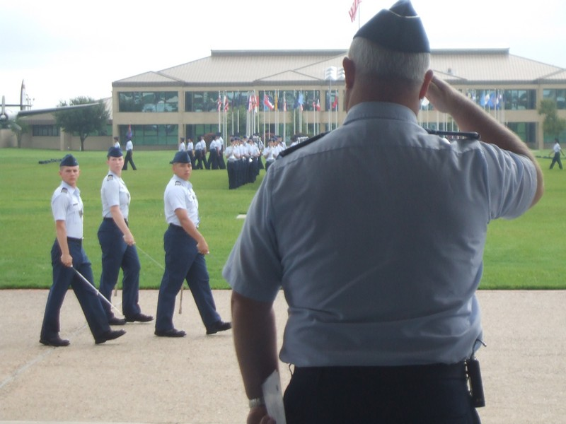 Reviewing officer at USAF Basic Training Graduation Parade of 750 new USAF enlisted troops where daughter Hanna was on Honor Graduate.