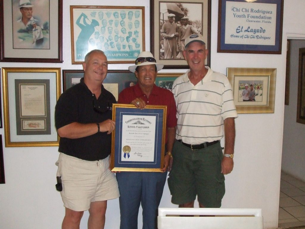 Giving an Award to Professional Golfer Chi Chi Rodriguez