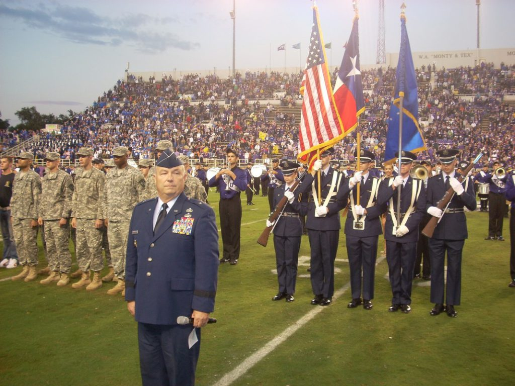 Swearing-In of new troops at a Texas Christian University Football game