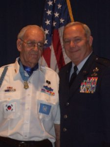 General with Korean War Medal of Honor recipient Ernie West