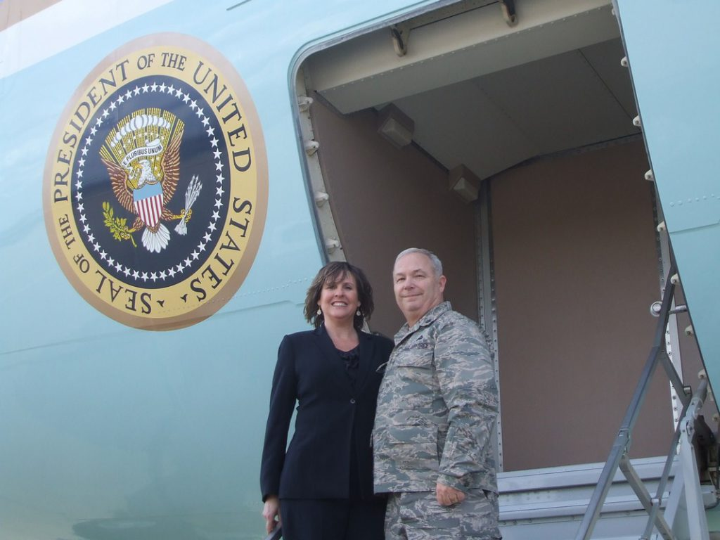 Brig Gen Howard Hunt and wife Aprile board Air Force One