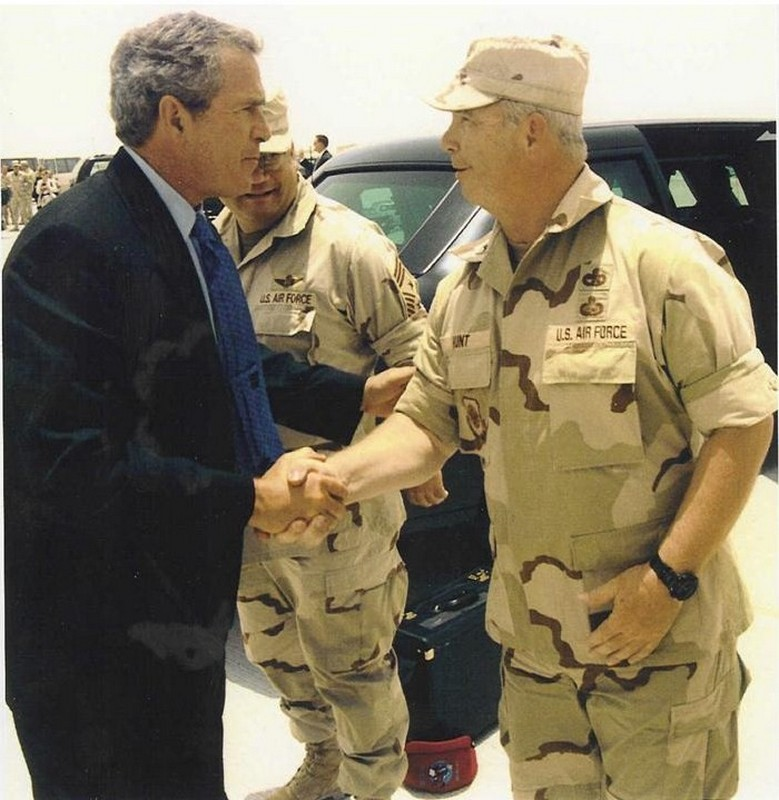 Greeting President George W. Bush