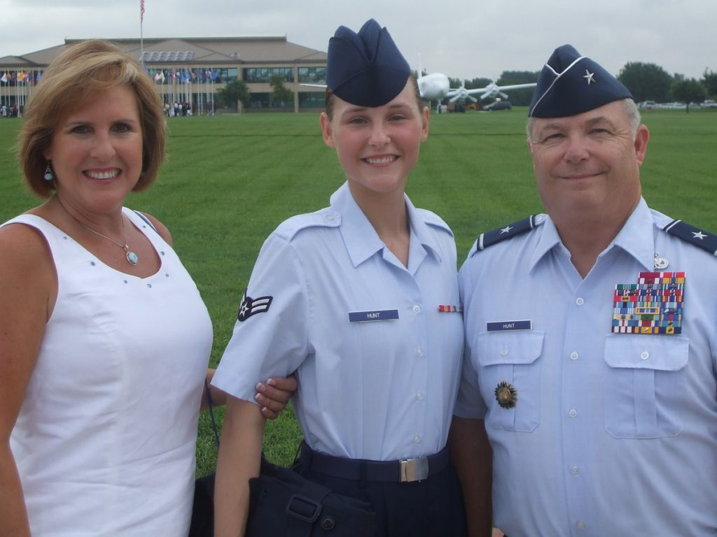 Airman First Class Bebe Hanna Hunt with her father Brigadier General Howard Hunt